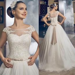 Wholesale Princess Greek Dress - 2017 New Sheer Neck Greek Cap Sleeves A-line Wedding Dresses Button Back Vestios De Novia Elegant Lace Appliques Princess Bridal Gowns