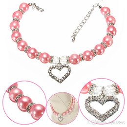 Wholesale Pearl Dog Collar - Cute Pet Dog Necklace Pearl Collar with Rhinestone Heart Shaped Charming Pendant Jewelry Syeer J00016 SMAD