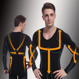 Wholesale Nylon Spandex T Shirt - Wholesale-Man Long Sleeve Body Shaper Shirt Thermal T Shirts Abdomen Slimming fajas modeladoras reductoras nylon spandex black shapewear