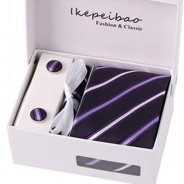 Wholesale 925 Tie Clip - Men Ties Sets Hanky Cufflink w Gift Box Stripes Paisley Dots Ties Neckties Set Gravata Cortabata Hombre for men