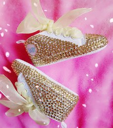 Wholesale Rubber Full Sole - Free shipping Bling bling Handmade baby shoes Sole Slip Resistan with lace bowknot and full rhinestone Girl's shoes soft First Walkers