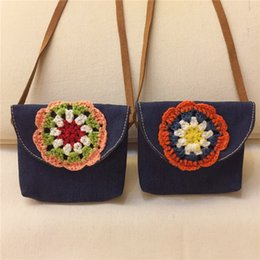 Wholesale Wholesale Crochet Bags - Baby Girls Denim Flower Hangbags Kids Girls Crochet Fashion Bag Babies Cross-body Nation Bag 2017 Baby Accessories