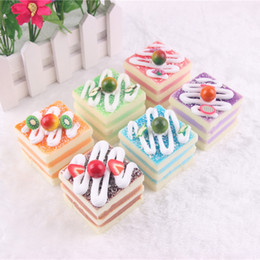 Wholesale Wholesale Cake Mixes - 12pcs-6cm squishy cake Fridge Magnets Pudding FOOD mix color wholesale christmas gift free shipping squishy packages kids kitchen bread squ