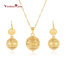 Wholesale Earrings High Jewelry Round - Westernrain High Quality 24K Gold Jewelry Gold Plating round sphere Necklace 2016 Unique 24K Gold Earring Clothing fashion accessories G676