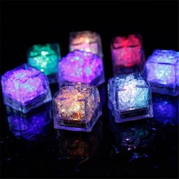 Wholesale led ice cube multi - MINI LED Ice Cube Multi Color Changing Flash Lights Crystal Cubes for Party Wedding Event Bars Chirstmas Halloween Party Decorations