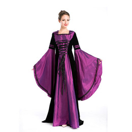 Wholesale Medieval Evening Dresses - Real Photos Purple European Palace Costumes Vintage Costly Stage Performance Disfraces Queen of Halloween Evening Dress
