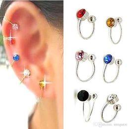 Wholesale Diamond Ear Clip Earrings - 1 Pair clip on earrings for Women U Pattern Clip On Crystal Earring Ear Cuff fake piercing ear clips ohrringe Jewelry girl Gift