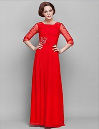 Wholesale Ruby Lights - Ruby Floor-length 3 4 Length Sleeve Chiffon and Tulle Column Square Beaded Mother of the Bride Dress