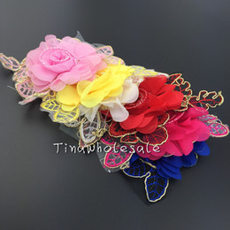Wholesale Pink Chiffon Hair Bow - Hot Sale Summer Style chiffon lace patch Flower with gold leaf for Children Hair Accessories infant Baby Hair Clips