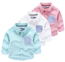 Wholesale Boys Oxford Shirts - Three colors Boy shirt solid color oxford shirts striped pocket at chest special sleeve patch design