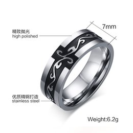 Wholesale Chinese Rings For Men - 7mm Fashion Jewelry Ring Titanium Chinese dragon Ring silver and Black fashion punk style ring for men and women