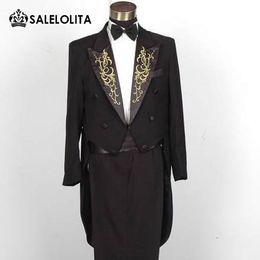 Wholesale Performance Magic - Wholesale- Plus Size Black And White Mens Tuxedo Suit Embroidery Neckline Magic Show Performances Costume