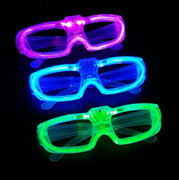 Wholesale Cheer Accessories Wholesale - party Led shutter glow cold light glasses light up shades flash rave luminous glasses Christmas favors cheer atmosphere props festive supply