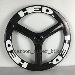 Wholesale Tri Spokes Carbon Wheelset - T700c road bicycle Rear wheel 65mm tri spokes wheelset 700C 3 spoke Clincher Carbon Wheels Free Shipping