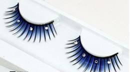 Wholesale Blue Diamond Pair - Wholesale-1 pairs The new stage art form diamond false eyelashes for women makeup blue black and white bridal styling studio XZ09