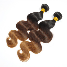 Wholesale Virgin Closures For Cheap - Malaysian Virgin Hair Bundles with Closure Ombre Brown Body Wave Human Hair Weaves for Wedding Cheap Online 3 Pieces lot 33-20
