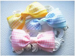 Wholesale School Uniform Pink - 15% off! 2016 new fashion 3inch Handmade Baby Girl bow hair clips Tina School Uniform Gingham hair Bow bobble alligator clip 9 colors 30pcs