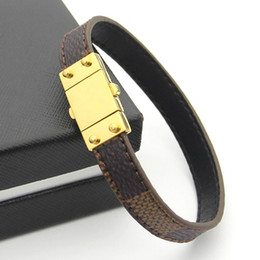 Wholesale Gold Black Metal Bangle - 316L Titanium steel bangle with metal clasp 1.2cm width brand name women and man bracelet geniune leather in 20.5cm wedding jewelry PS6223