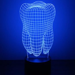 Wholesale Tooth Lamps - Wholesale- 2017 New Design Baby Room 3D Teeth Shaped Night Lamp USB Night Lighting Kids LED Desk Table Lights Lamps