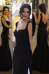 Wholesale Perfect Ribbon - Perfect Square Elegant Mermaid Black Prom Dresses Fashion Dnace Formal Sexy Back Sweep Train Prom Gowns Designer Custom Made Prom Dress