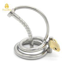 dispositif de chasteté mâle oiseau verrouillé Promotion Dispositif de chasteté masculine en acier inoxydable avec un cathéter, une cage à coq, un verrou de virginité, un anneau de pénis pour adulte, un anneau coq A082