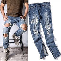 Wholesale Hole Jeans For Men - Wholesale-Mens Designer RedLine Rockstar Justin Bieber Kanye WEST Origina Ripped Skinny Denim Jeans for High Quality god of Fear Men