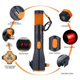Hot 9 in 1 lampe de poche multifonction d'urgence + chargeur mobile / alarme / radio / boussole / coupe-ceinture / coupe-vent pour outil de sécurité voiture / maison / camping ? partir de fabricateur
