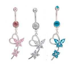 Wholesale Crystal Ball Belly Bar - Butterfly Crystal Dangle Pendant Ball Button Barbell Bar Belly Navel Ring Stainless Steel Body Piercing Jewelry