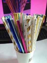 Wholesale Silver Paper Straws - New Foil Gold Straw Silver Straw Paper Straw Decoration Party Drinking Supplies 100pcs lot DEC044
