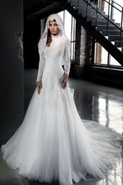 Wholesale Lace Islamic Wedding Dresses - Modest High Neck Muslim Wedding Dresses 2016 Long Sleeves Lace Appliques Arabic Plus Size Islamic Women Bridal Gowns Custom Made