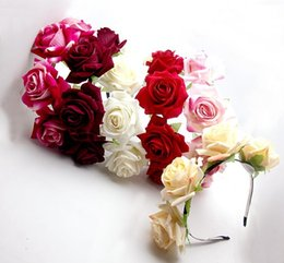 Wholesale Rose Hair Garland - 6PX Handmade Floral Crown Tiara 18 Choices Rose Flower Headband Hair Garland Wedding Headpiece H1135