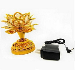 Wholesale Led Lotus Crystal Lamp - Colorful led lotus lamp Buddha Machine Buddhist supplies of dual-use plug-in battery LED Lotus Flower Romantic Wedding Decorat