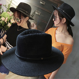 Wholesale Solid Straw Hats Caps - Wholesale-2016 New Summer Breathable Solid Color Belt Buckle Big Brim Straw Sun Hat Floopy Jazz Cap For Women Mens