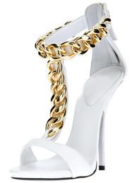 Wholesale Pumps Chain Ankles - White Sandal For Wedding Shoes Metal Chain High Heels Pumps 35 Size Shoe Kadin Ayakkabi 2015 Handmade Luxury Designer Shoes Wome 2015