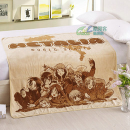 Wholesale Boy Anime Bedding - Anime APH Axis Powers Blankets Soft Boys Cool Carpet Coral Fleece Throw Blanket on Bed 100*140cm Comic Gift, Air conditioning blanket