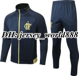 Wholesale Short Jackets Men - TOP QUALITY 17 18 Chandal Flamengo home jacket Training suit kits soccer Jersey Brasil Flemish flamengo DIEGO CONCA GUERRERO football shirts