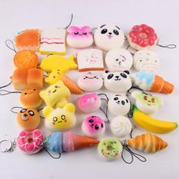 Wholesale Big Pendent - Kawaii Squishy Donut Soft Squishies Cute phone Straps Bag Squishy Soft Charms Slow Rising Squishies Jumbo Pendent 500pcs OOA2708