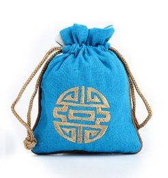 Wholesale Wedding Favors Drawstring Bags - Small Chinese style Embroidery Joyous Cotton Linen Bag Wedding Favors Drawstring Decorative Packaging Pouches Bag for Gift size 11 x 14 cm
