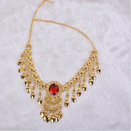 Wholesale Belly Dance Necklace Gold - Belly dance head chain necklace Child Adult dance Indian dance accessories jewelry upscale jewelry big diamond ruby necklace