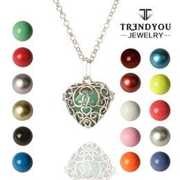 Wholesale Ball Sound Pendant - TRENDYOU New Long Necklace Heart Harmony Ball Locket Cage Chime Bell Ball Mum Jewelry Baby Shower Colgantes Deplata Angel Sound DTZ16614-13