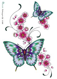 Wholesale Flower Butterflies Tattoos - Wholesale- LC2828 21*18cm Large Tattoo Sticker Bright Color Butterfly Flower Designs Temporary Tattoo Stickers Fashion Sexy New Arrival
