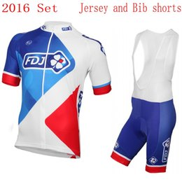Wholesale Team Fdj - 2016 PRO team FDJ cycling jersey men's short-sleeve summer Ropa ciclismo Quick-Dry Racing Bicycle MTB cycling cloth gel pad bib shorts