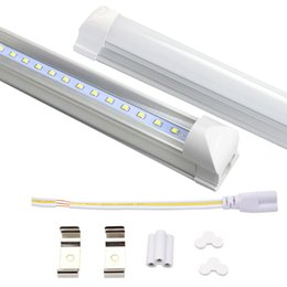 Wholesale Leds T8 - NEW Integrated 2.4m 8ft 45W Led T8 Tube Lights SMD2835 192 Leds High Bright 4800lm Warm Cool White Frosted Transparent Cover 85-265V