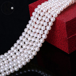 Wholesale Black Cultured Pearl Beads - aaa Natural cultured freshwater pearl near round pearl 8-9mm pearl beads loose strands necklace wholesale free shipping