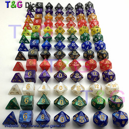 Wholesale Dices Sets - Wholesale-7pc lot dice set High quality Multi-Sided Dice with marble effect d4 d6 d8 d10 d10 d12 d20 DUNGEON and DRAGONS rpg dice games