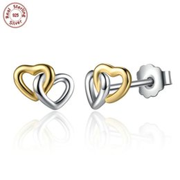 Wholesale double stud ear cuff - Wholesale Solid 925 Sterling Silver Earrings Ear Stud Double Heart 18K Gold Plating For Beauty Woman Fashion Luxury Jewelry E442