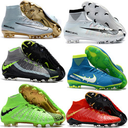 Wholesale Soccer Cleats For Boys - Cheap Mens Women Kids Football Soccer Shoes Hypervenom Boots Mercurial Superfly V FG Youth Soccer Cleats For Boys Magista Obra Football shoe