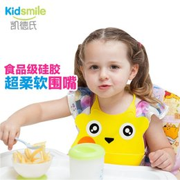 Wholesale Bid Baby - Wholesale- KidSmile New Style Baby Silicone Bib Stereo Disposable Bib Kids Bibs Children Pick Rice Pocket Cute Boys And Girls Bids 8 Color