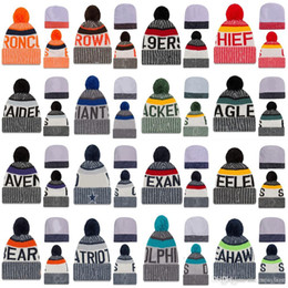 Wholesale New Fashion Yarn - 2017 New Arrival Beanies Hats American Football All team Sports Beanie Knitted Hats Free drop shipping Accept Mix Order album offered