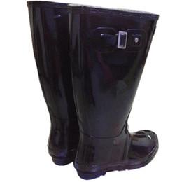 Wholesale Flat Black Thigh High Boots - Wholesale Boot Women's Bota Original Tour Refined Tall Gloss Matte Black Knee High Stripe Waterproof Rubber Rain Boots Footwear
